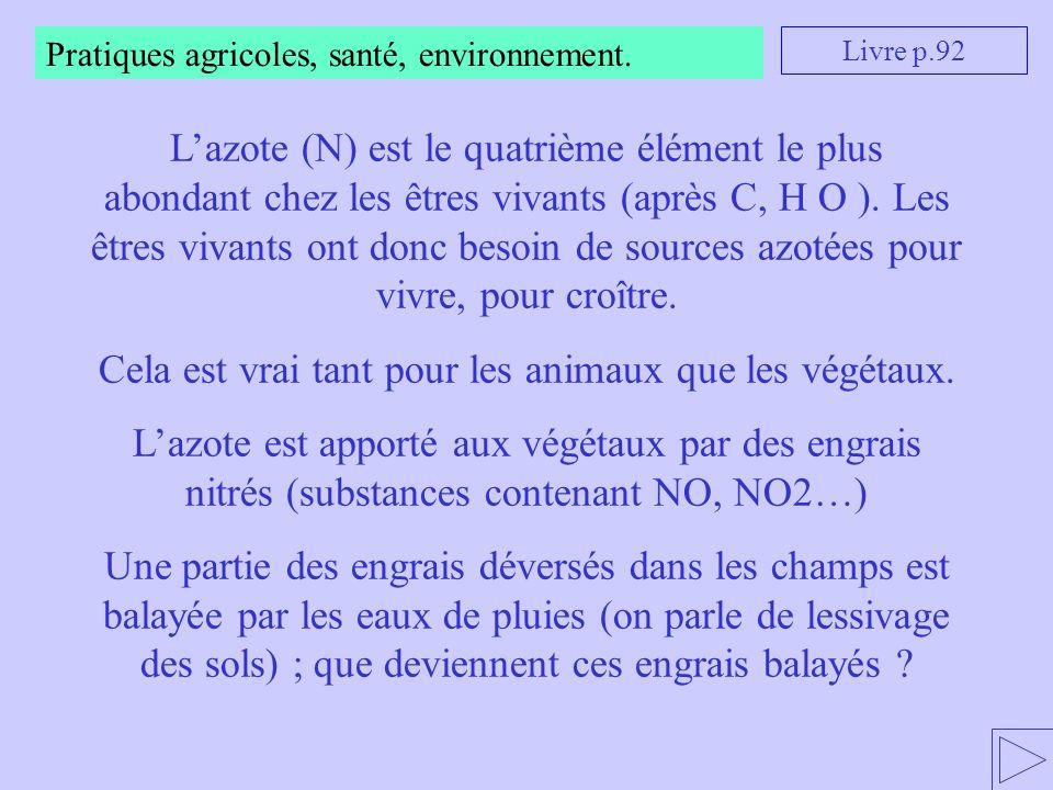 Pratiques agricoles, santé, environnement. Livre p.92 L'azote (N) est le quatrième élément le plus abondant chez les êtres vivants (après C, H O ). Le