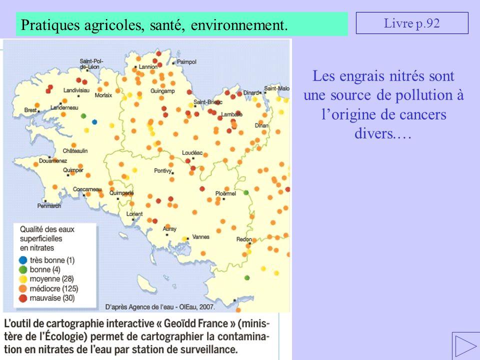 Pratiques agricoles, santé, environnement. Livre p.92 Les engrais nitrés sont une source de pollution à l'origine de cancers divers.…
