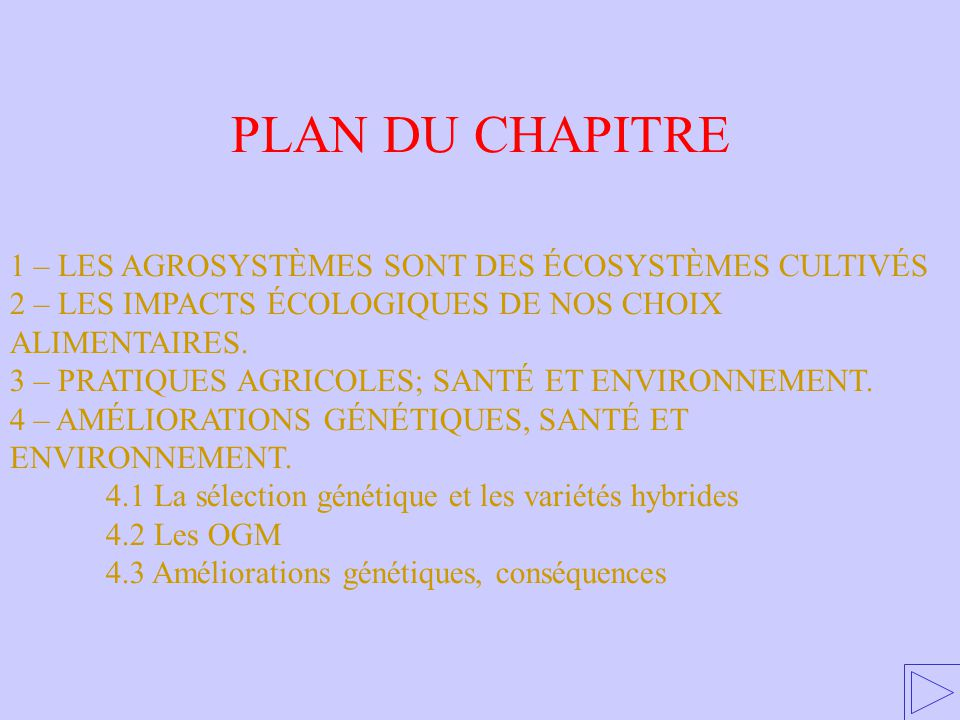 PLAN DU CHAPITRE 1 – LES AGROSYSTÈMES SONT DES ÉCOSYSTÈMES CULTIVÉS 2 – LES IMPACTS ÉCOLOGIQUES DE NOS CHOIX ALIMENTAIRES. 3 – PRATIQUES AGRICOLES; SA