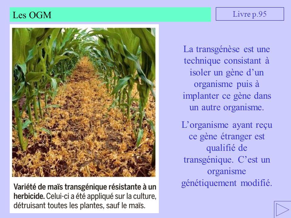 Les OGM Livre p.95 La transgénèse est une technique consistant à isoler un gène d'un organisme puis à implanter ce gène dans un autre organisme. L'org
