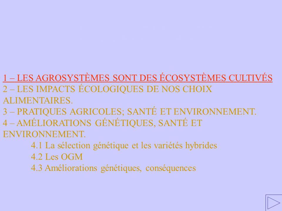 1 – LES AGROSYSTÈMES SONT DES ÉCOSYSTÈMES CULTIVÉS 2 – LES IMPACTS ÉCOLOGIQUES DE NOS CHOIX ALIMENTAIRES. 3 – PRATIQUES AGRICOLES; SANTÉ ET ENVIRONNEM