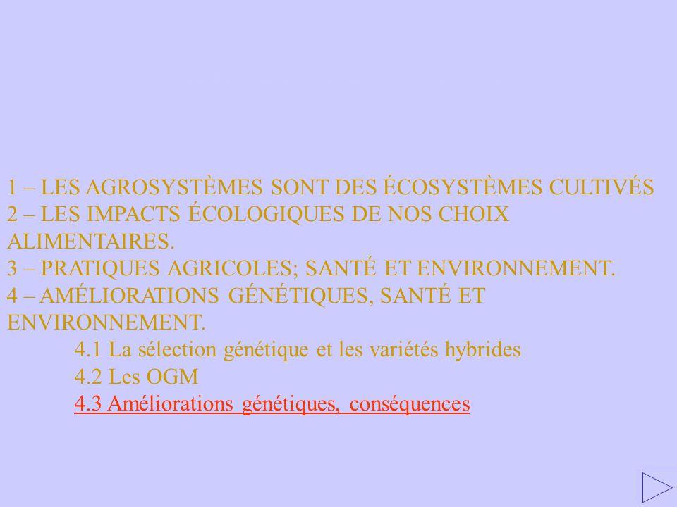4.3 Améliorations génétiques, conséquences 1 – LES AGROSYSTÈMES SONT DES ÉCOSYSTÈMES CULTIVÉS 2 – LES IMPACTS ÉCOLOGIQUES DE NOS CHOIX ALIMENTAIRES. 3