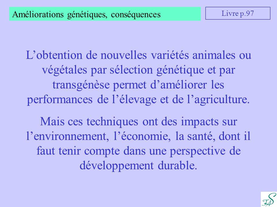 Améliorations génétiques, conséquences Livre p.97 L'obtention de nouvelles variétés animales ou végétales par sélection génétique et par transgénèse p
