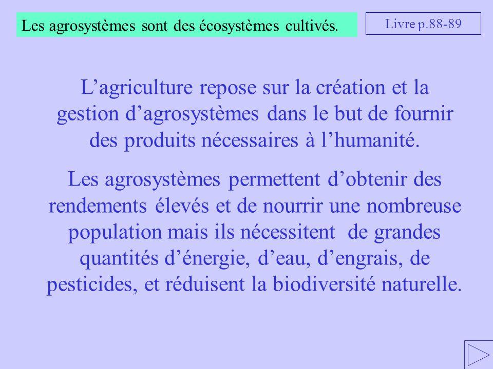 Les agrosystèmes sont des écosystèmes cultivés. L'agriculture repose sur la création et la gestion d'agrosystèmes dans le but de fournir des produits
