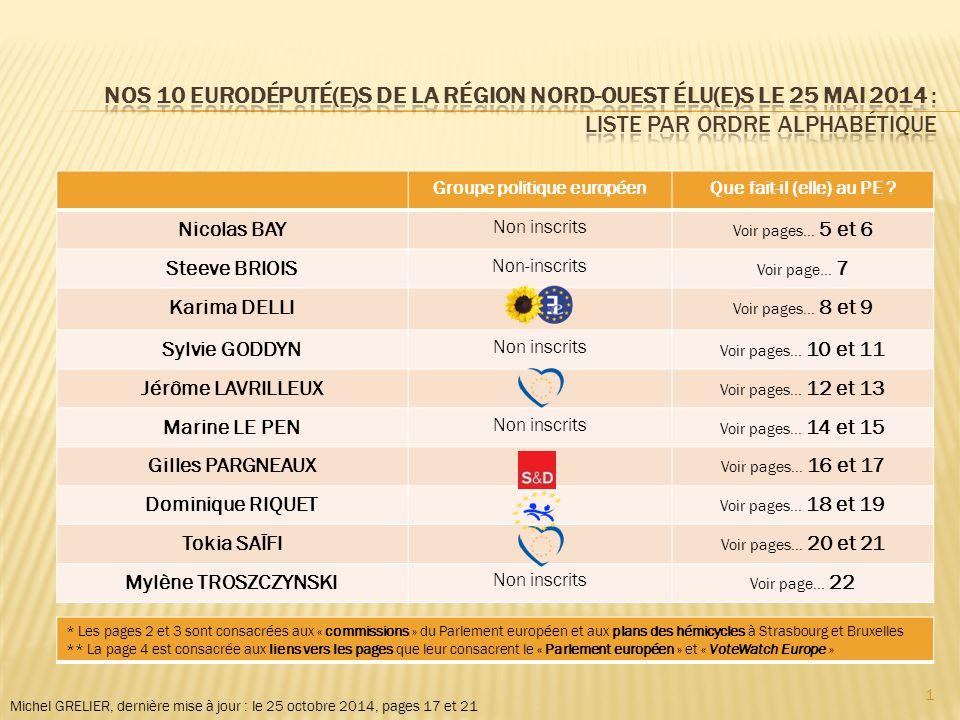 Michel GRELIER, dernière mise à jour : le 25 octobre 2014, pages 17 et 21 Groupe politique européenQue fait-il (elle) au PE .