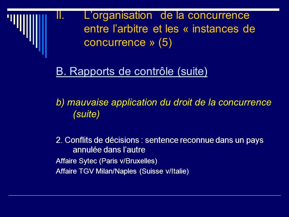 II. L'organisation de la concurrence entre l'arbitre et les « instances de concurrence » (5) B.