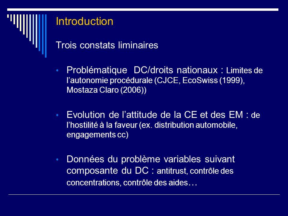 Introduction Trois constats liminaires Problématique DC/droits nationaux : Limites de l'autonomie procédurale (CJCE, EcoSwiss (1999), Mostaza Claro (2006)) Evolution de l'attitude de la CE et des EM : de l'hostilité à la faveur (ex.