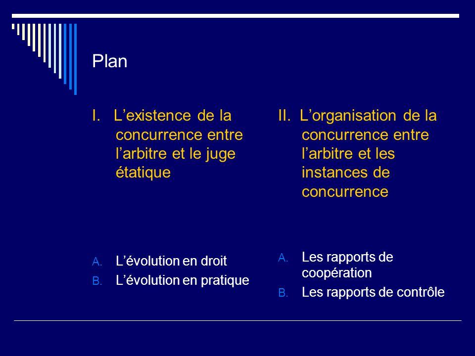 Plan I. L'existence de la concurrence entre l'arbitre et le juge étatique A.