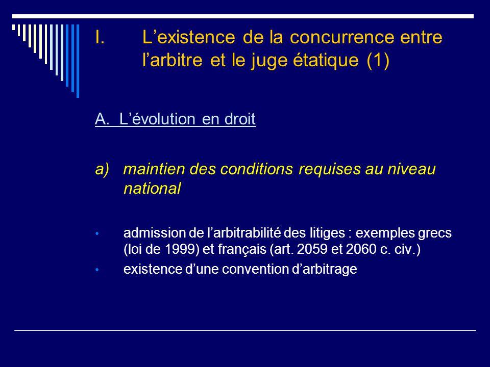 I.L'existence de la concurrence entre l'arbitre et le juge étatique (2) A.