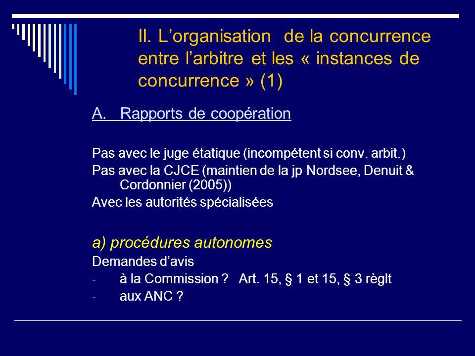 II. L'organisation de la concurrence entre l'arbitre et les « instances de concurrence » (1) A.