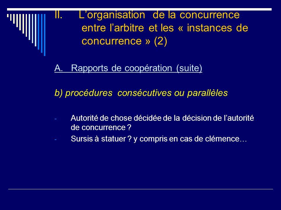 II. L'organisation de la concurrence entre l'arbitre et les « instances de concurrence » (2) A.