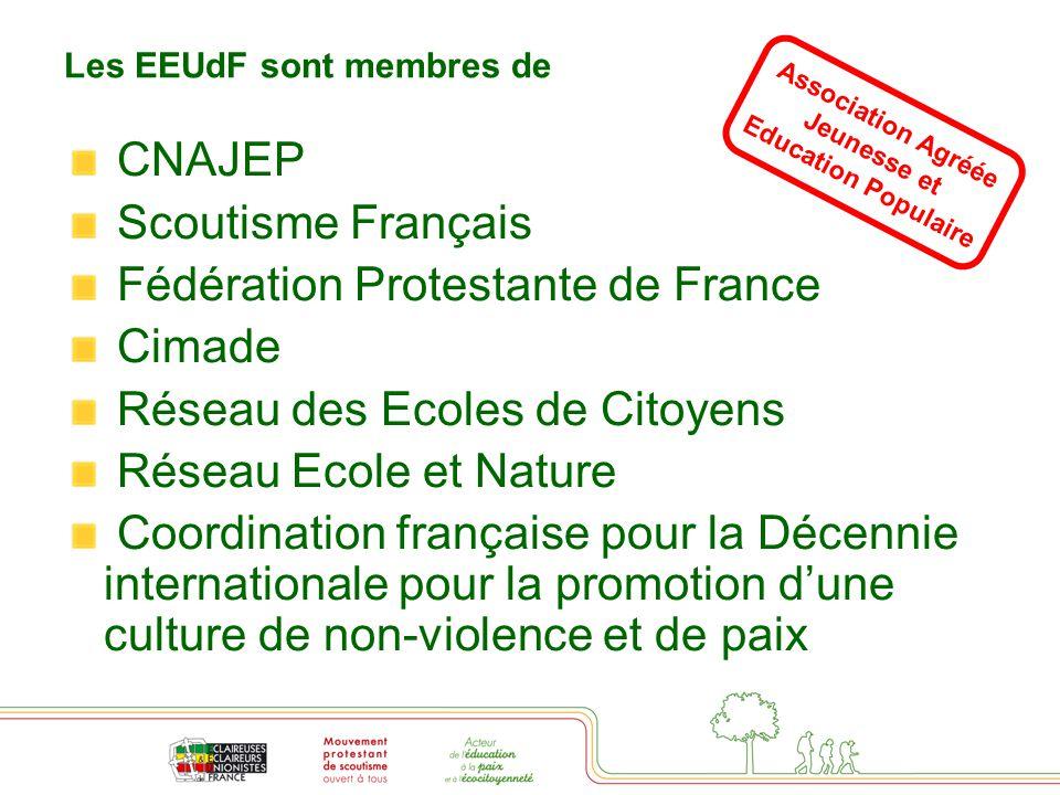 Les EEUdF sont membres de CNAJEP Scoutisme Français Fédération Protestante de France Cimade Réseau des Ecoles de Citoyens Réseau Ecole et Nature Coordination française pour la Décennie internationale pour la promotion d'une culture de non-violence et de paix Association Agréée Jeunesse et Education Populaire