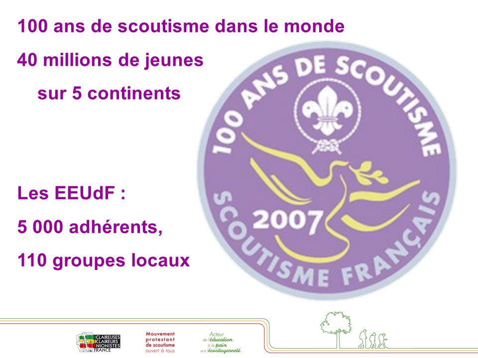 100 ans de scoutisme dans le monde 40 millions de jeunes sur 5 continents Les EEUdF : 5 000 adhérents, 110 groupes locaux