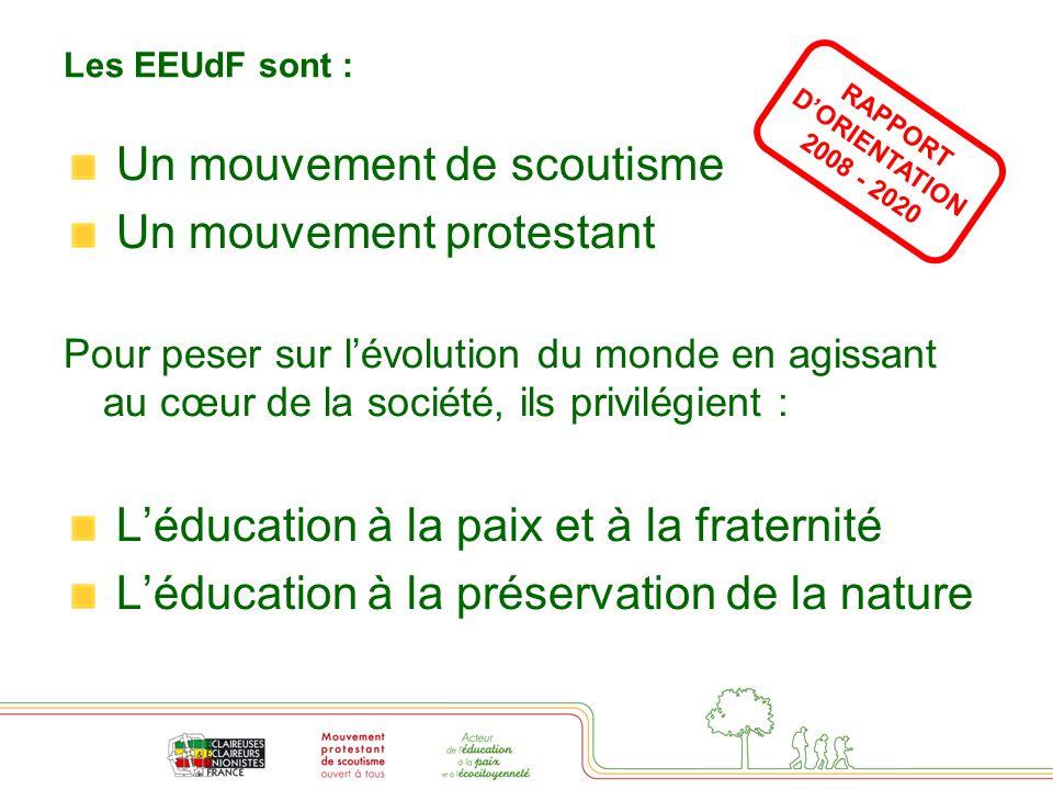 Les EEUdF sont : Un mouvement de scoutisme Un mouvement protestant Pour peser sur l'évolution du monde en agissant au cœur de la société, ils privilégient : L'éducation à la paix et à la fraternité L'éducation à la préservation de la nature RAPPORT D'ORIENTATION 2008 - 2020