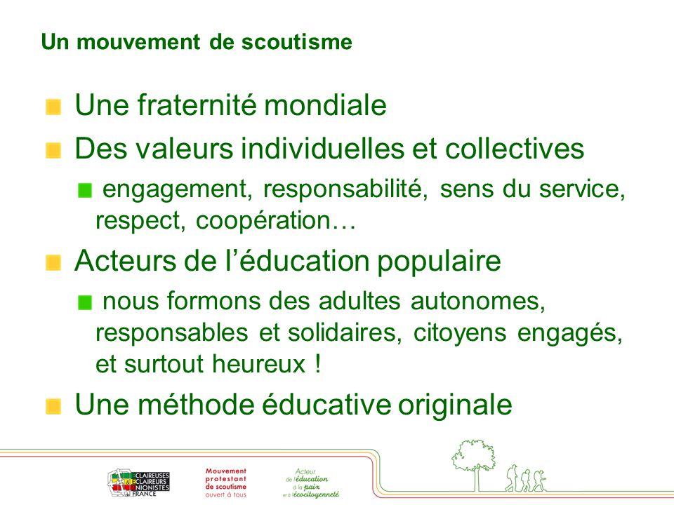 Un mouvement de scoutisme Une fraternité mondiale Des valeurs individuelles et collectives engagement, responsabilité, sens du service, respect, coopé