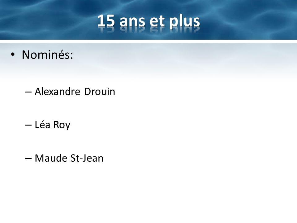Nominés: – Alexandre Drouin – Léa Roy – Maude St-Jean