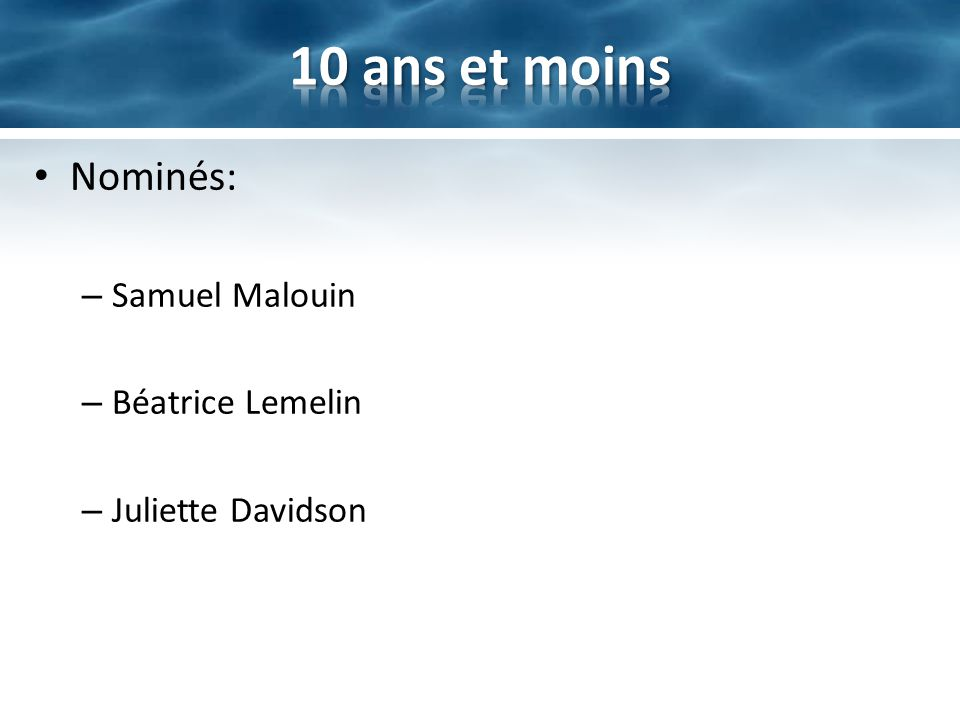 Nominés: – Samuel Malouin – Béatrice Lemelin – Juliette Davidson