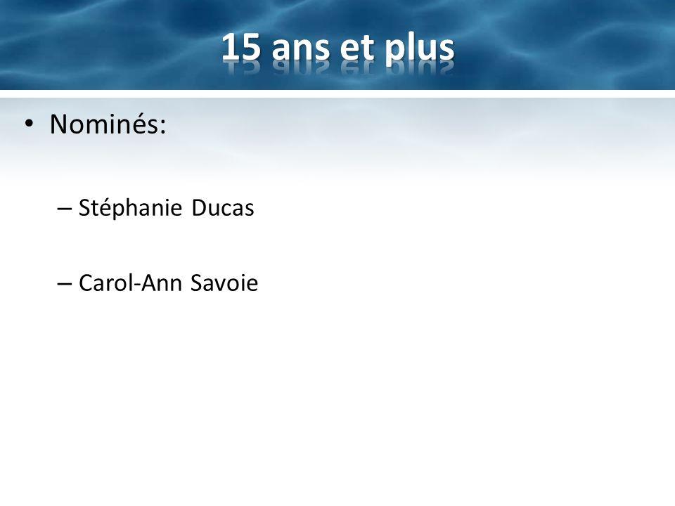 Nominés: – Stéphanie Ducas – Carol-Ann Savoie