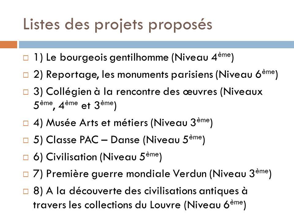 Listes des projets proposés  1) Le bourgeois gentilhomme (Niveau 4 ème )  2) Reportage, les monuments parisiens (Niveau 6 ème )  3) Collégien à la rencontre des œuvres (Niveaux 5 ème, 4 ème et 3 ème )  4) Musée Arts et métiers (Niveau 3 ème )  5) Classe PAC – Danse (Niveau 5 ème )  6) Civilisation (Niveau 5 ème )  7) Première guerre mondiale Verdun (Niveau 3 ème )  8) A la découverte des civilisations antiques à travers les collections du Louvre (Niveau 6 ème )