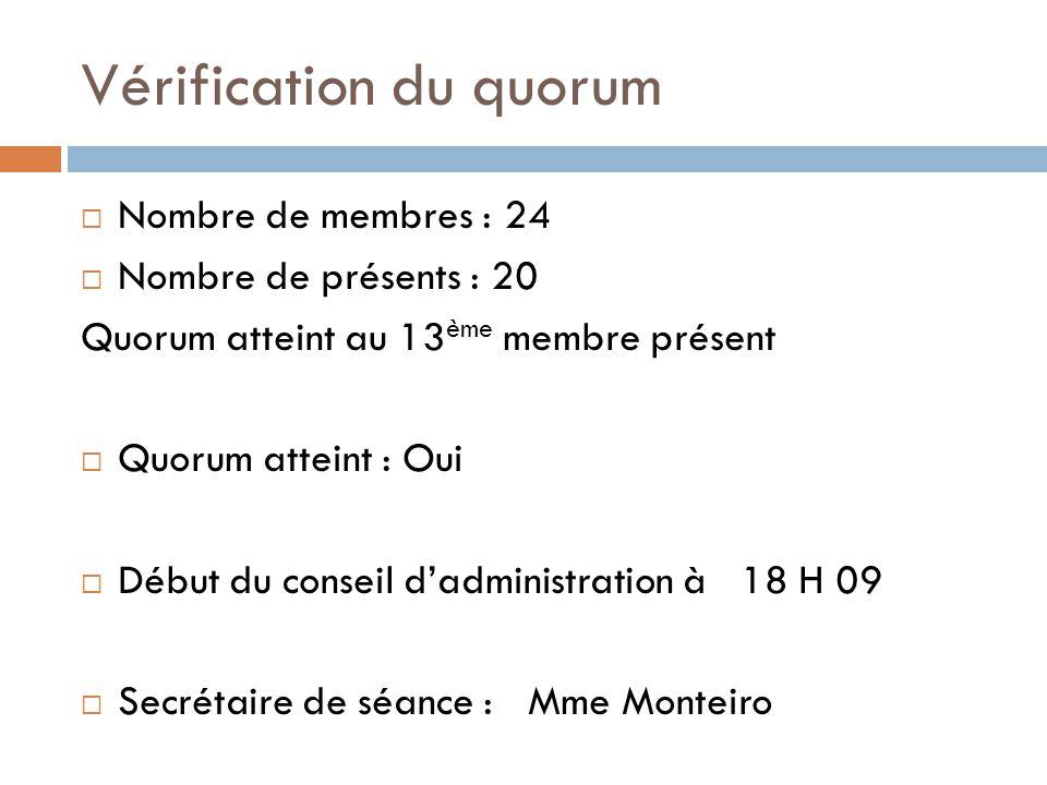 Vérification du quorum  Nombre de membres : 24  Nombre de présents : 20 Quorum atteint au 13 ème membre présent  Quorum atteint : Oui  Début du conseil d'administration à 18 H 09  Secrétaire de séance : Mme Monteiro
