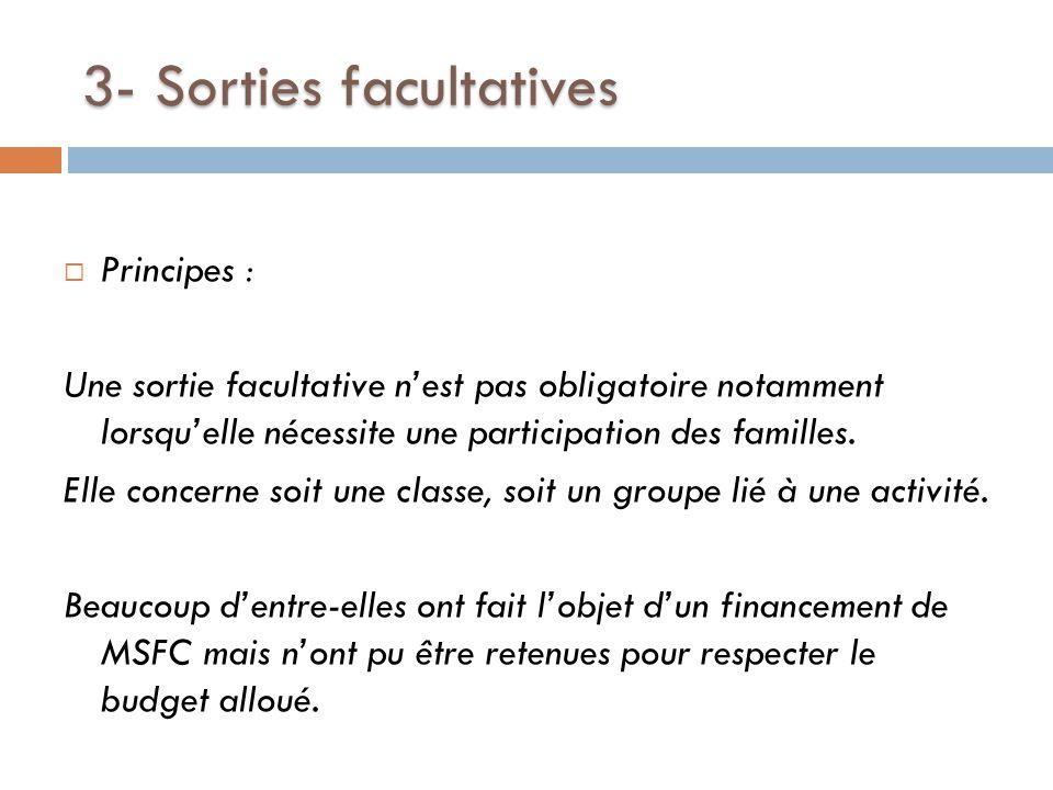3- Sorties facultatives  Principes : Une sortie facultative n'est pas obligatoire notamment lorsqu'elle nécessite une participation des familles.