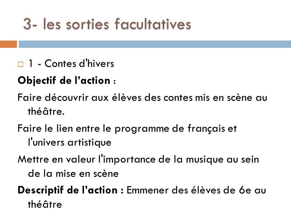 3- les sorties facultatives  1 - Contes d hivers Objectif de l'action : Faire découvrir aux élèves des contes mis en scène au théâtre.