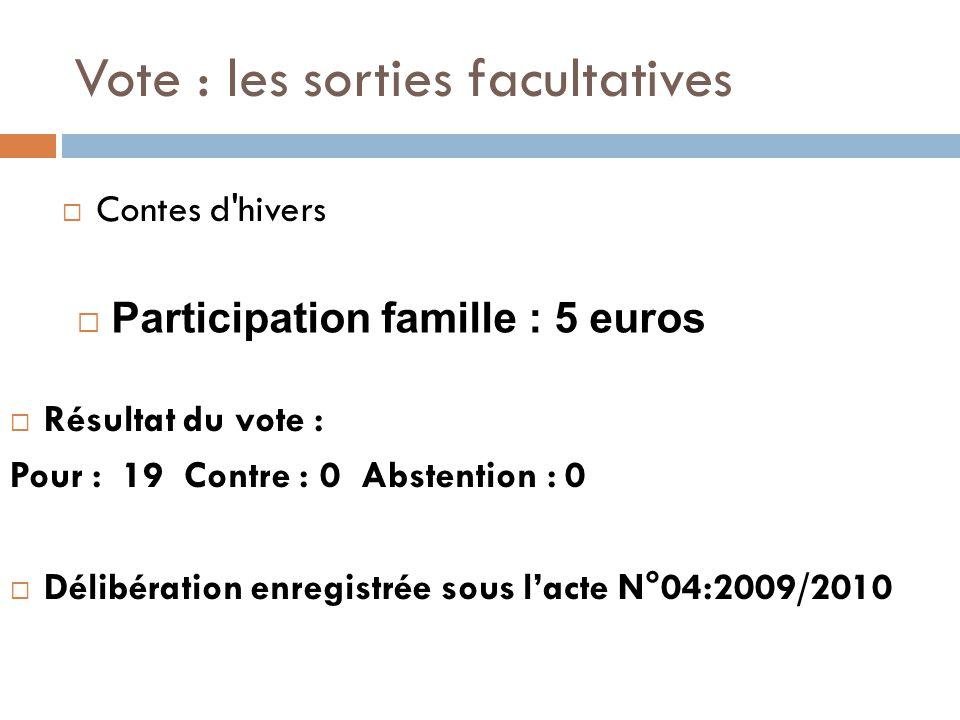 Vote : les sorties facultatives  Résultat du vote : Pour : 19 Contre : 0 Abstention : 0  Délibération enregistrée sous l'acte N°04:2009/2010  Contes d hivers  Participation famille : 5 euros