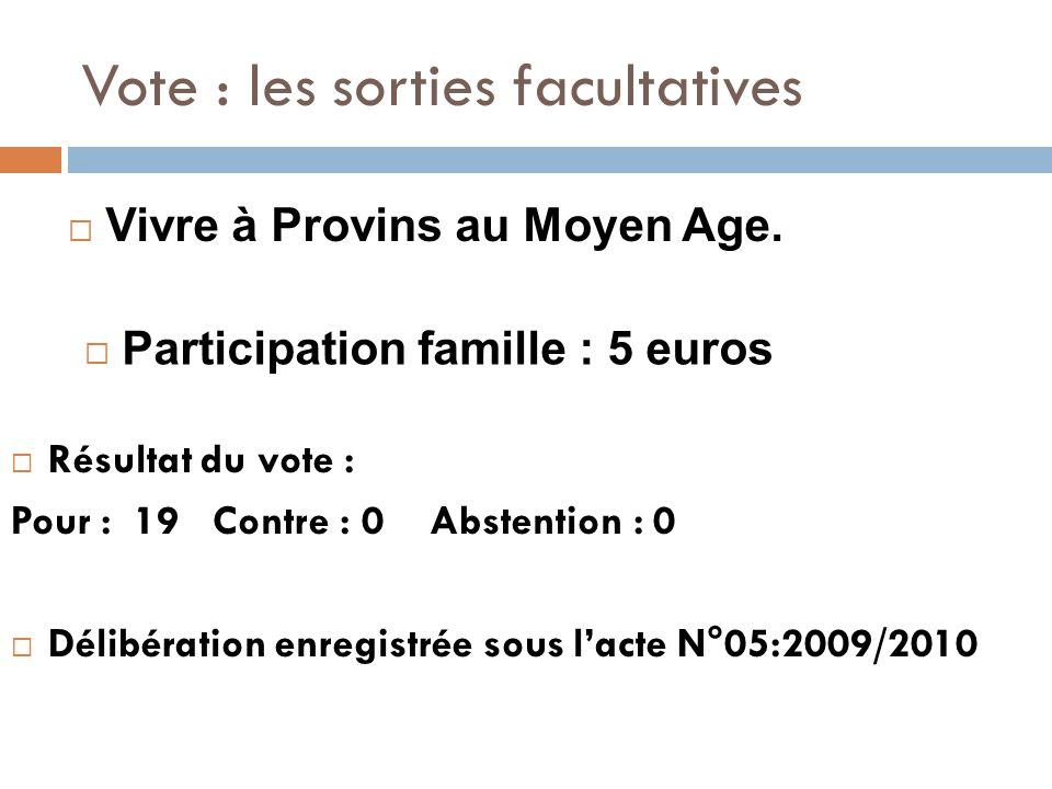 Vote : les sorties facultatives  Résultat du vote : Pour : 19 Contre : 0 Abstention : 0  Délibération enregistrée sous l'acte N°05:2009/2010  Vivre à Provins au Moyen Age.