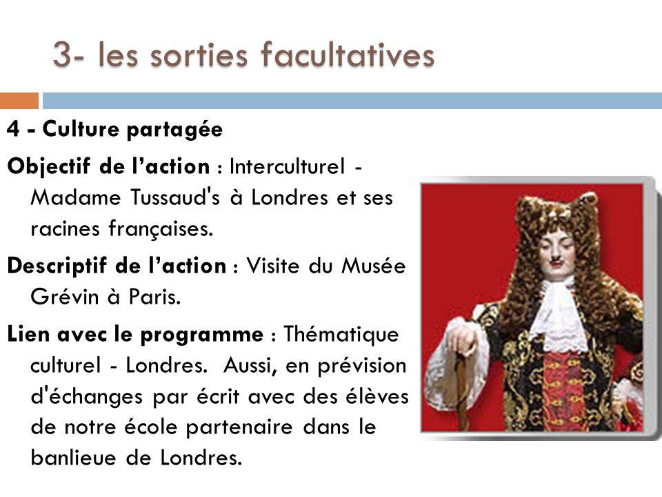3- les sorties facultatives 4 - Culture partagée Objectif de l'action : Interculturel - Madame Tussaud s à Londres et ses racines françaises.