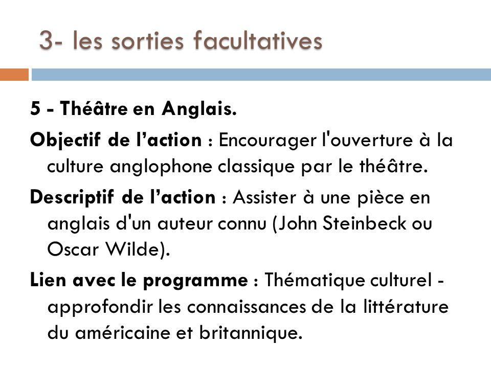 3- les sorties facultatives 5 - Théâtre en Anglais.