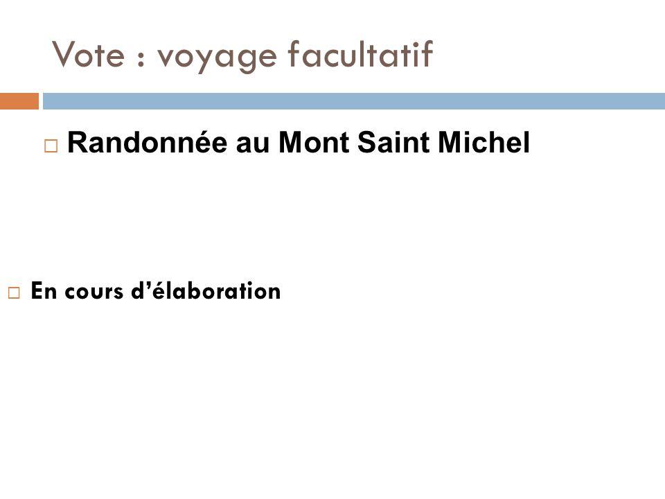 Vote : voyage facultatif  En cours d'élaboration  Randonnée au Mont Saint Michel