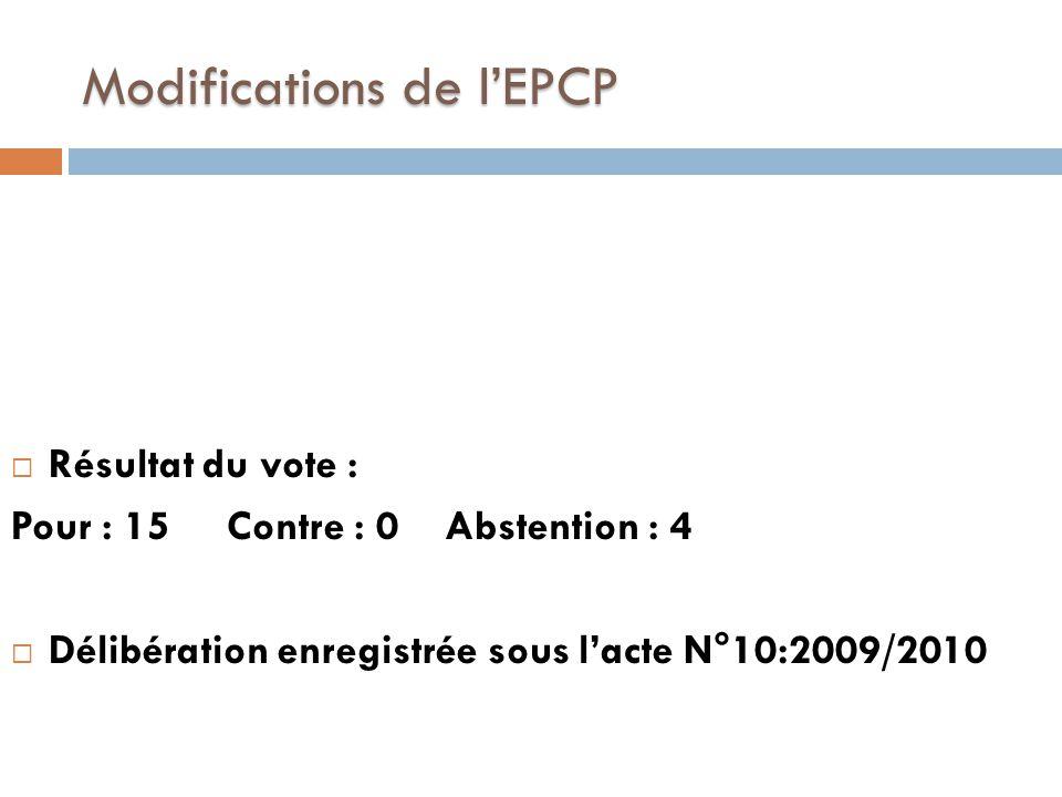 Modifications de l'EPCP  Résultat du vote : Pour : 15 Contre : 0 Abstention : 4  Délibération enregistrée sous l'acte N°10:2009/2010