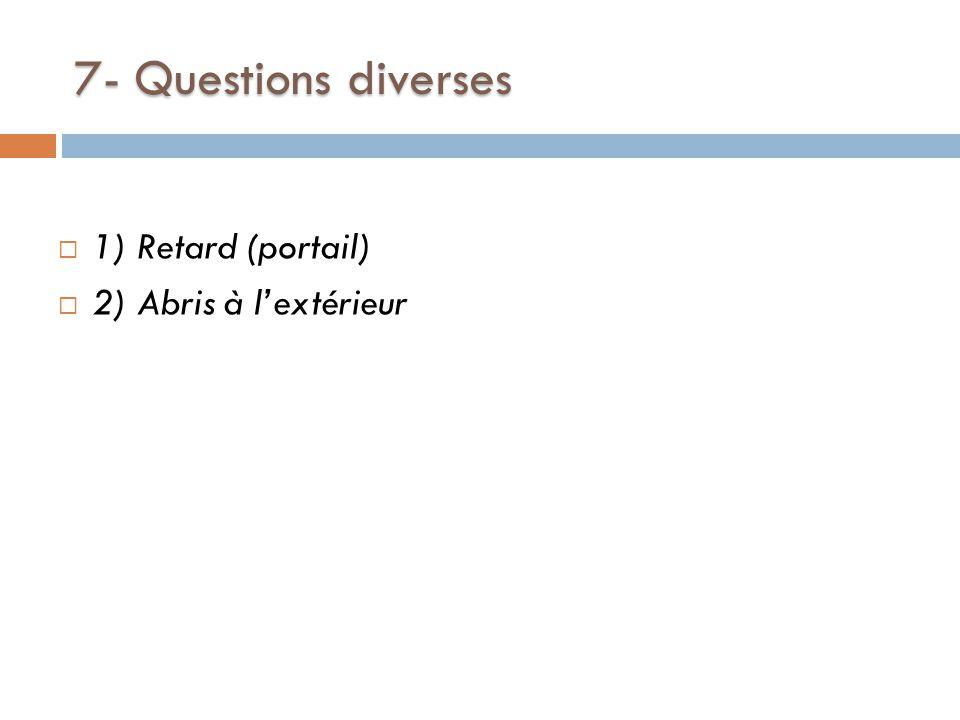 7- Questions diverses  1) Retard (portail)  2) Abris à l'extérieur