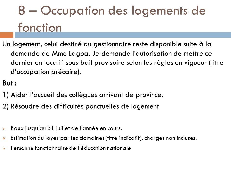 8 – Occupation des logements de fonction Un logement, celui destiné au gestionnaire reste disponible suite à la demande de Mme Lagoa.