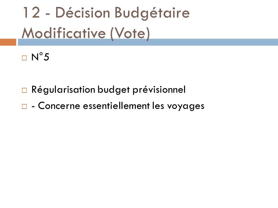 12 - Décision Budgétaire Modificative (Vote)  N°5  Régularisation budget prévisionnel  - Concerne essentiellement les voyages