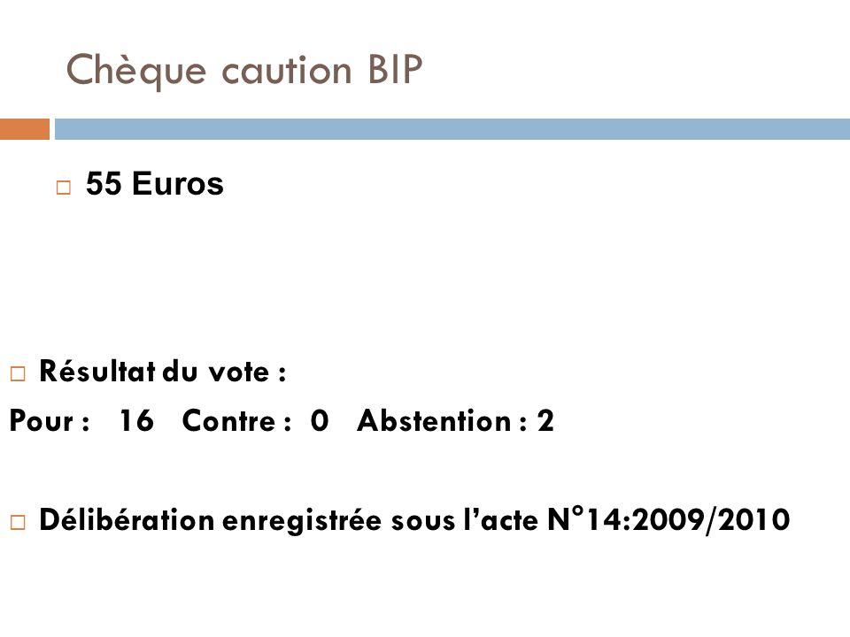 Chèque caution BIP  Résultat du vote : Pour : 16 Contre : 0 Abstention : 2  Délibération enregistrée sous l'acte N°14:2009/2010  55 Euros
