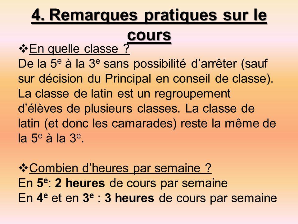 4.Remarques pratiques sur le cours  En quelle classe .