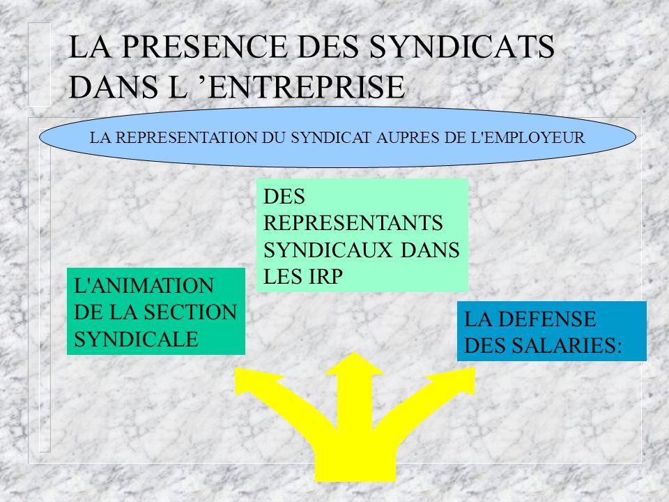 LA PRESENCE DES SYNDICATS DANS L 'ENTREPRISE L'ANIMATION DE LA SECTION SYNDICALE LA DEFENSE DES SALARIES: DES REPRESENTANTS SYNDICAUX DANS LES IRP LA
