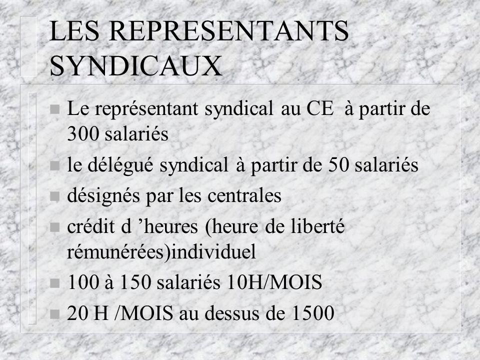 LES REPRESENTANTS SYNDICAUX n Le représentant syndical au CE à partir de 300 salariés n le délégué syndical à partir de 50 salariés n désignés par les