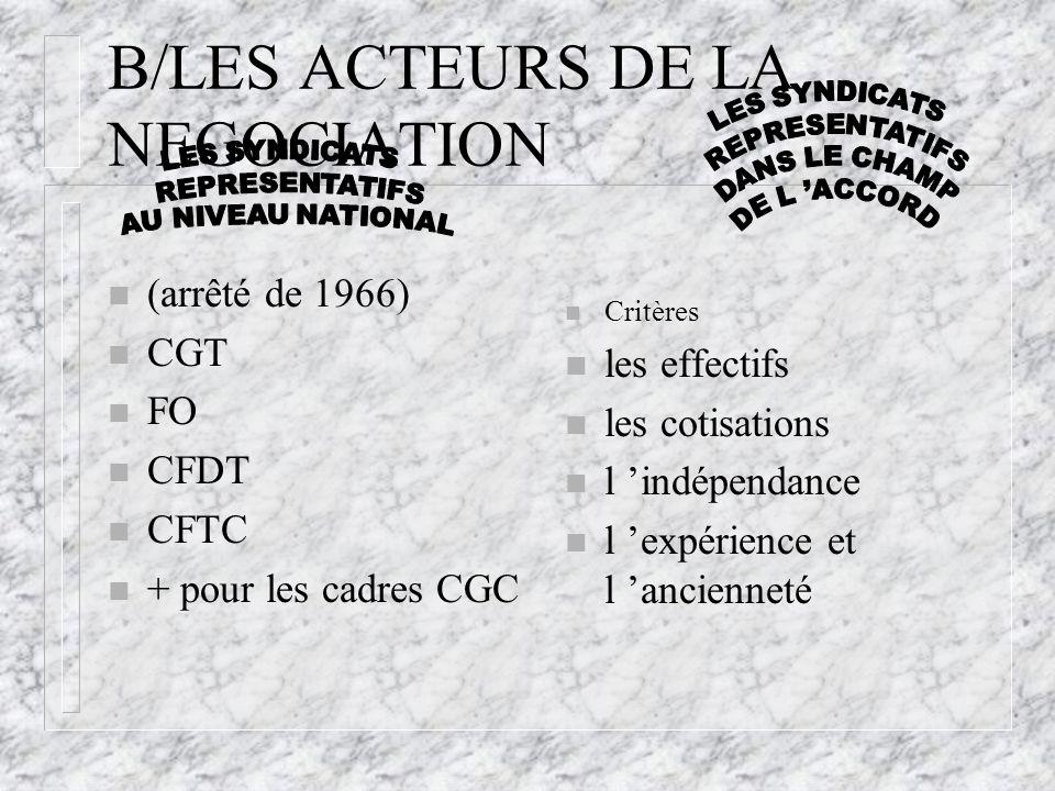 B/LES ACTEURS DE LA NEGOCIATION n (arrêté de 1966) n CGT n FO n CFDT n CFTC n + pour les cadres CGC n Critères n les effectifs n les cotisations n l '