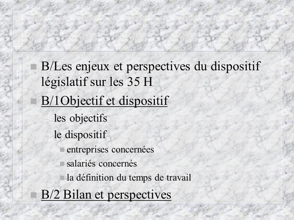 n B/Les enjeux et perspectives du dispositif législatif sur les 35 H n B/1Objectif et dispositif – les objectifs – le dispositif n entreprises concern