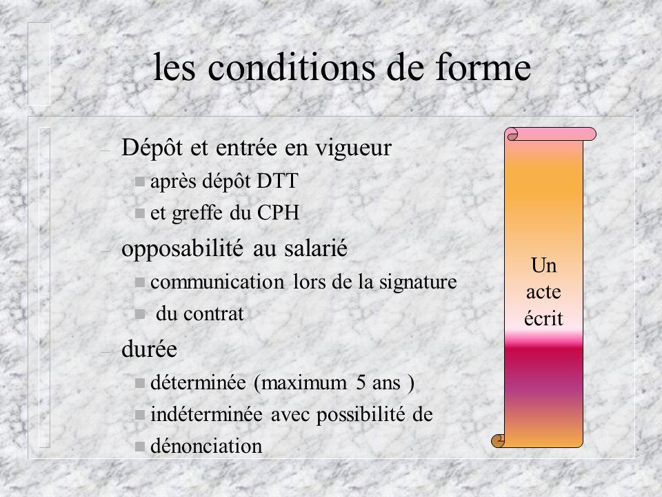 les conditions de forme – Dépôt et entrée en vigueur n après dépôt DTT n et greffe du CPH – opposabilité au salarié n communication lors de la signatu