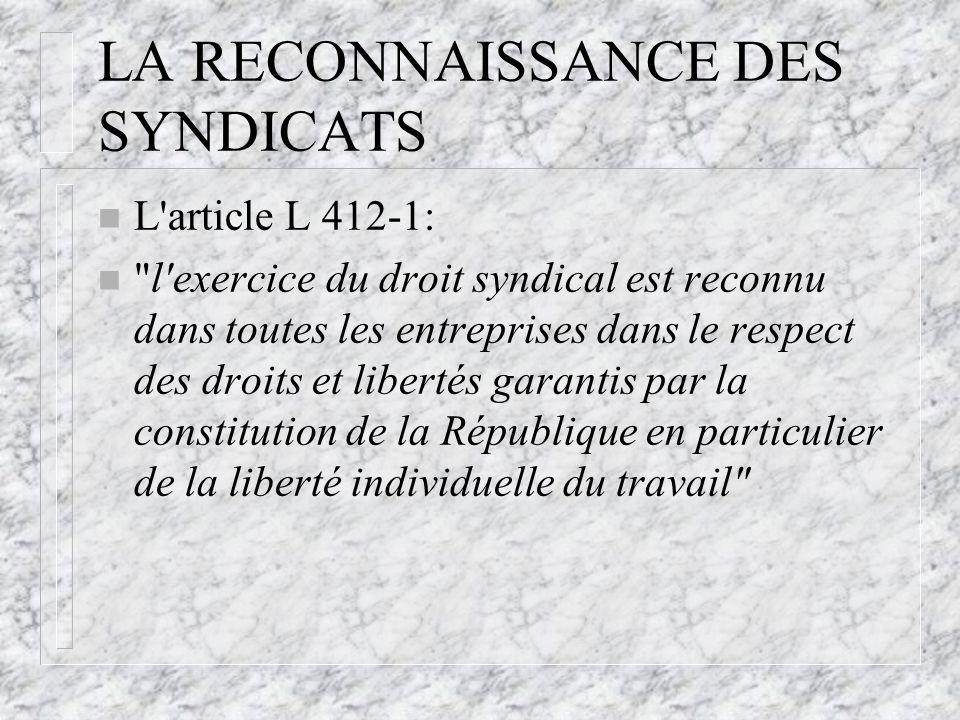 LA RECONNAISSANCE DES SYNDICATS n L'article L 412-1: n