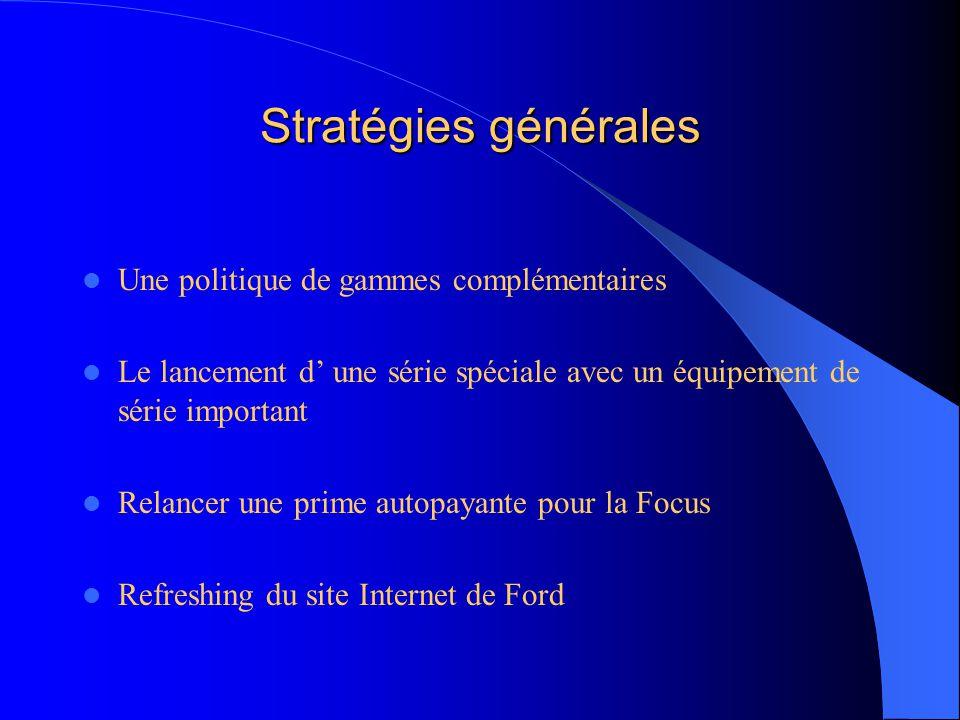 Stratégies générales Une politique de gammes complémentaires Le lancement d' une série spéciale avec un équipement de série important Relancer une prime autopayante pour la Focus Refreshing du site Internet de Ford