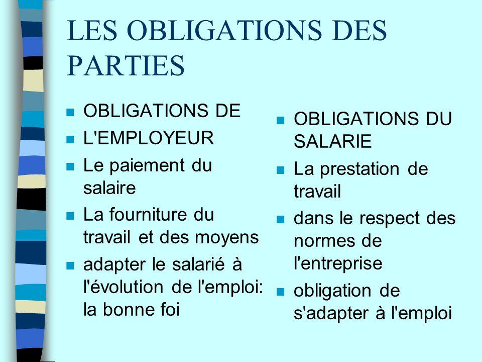 LES OBLIGATIONS DES PARTIES n OBLIGATIONS DE n L'EMPLOYEUR n Le paiement du salaire n La fourniture du travail et des moyens n adapter le salarié à l'