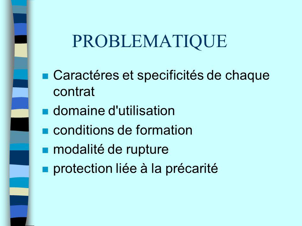 PROBLEMATIQUE n Caractéres et specificités de chaque contrat n domaine d'utilisation n conditions de formation n modalité de rupture n protection liée