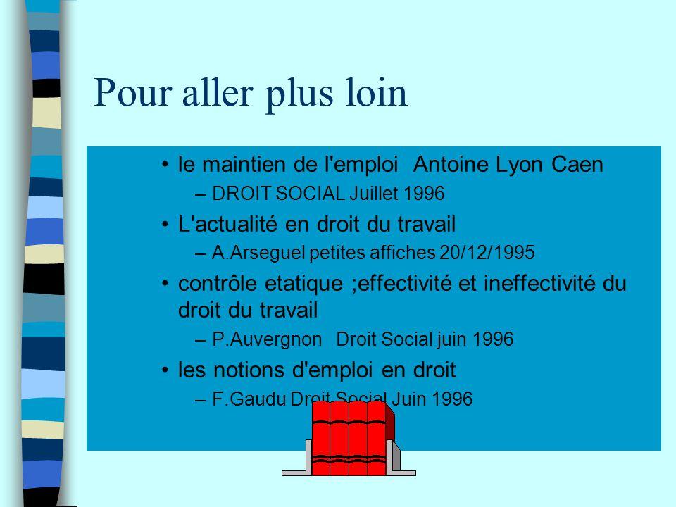 Pour aller plus loin le maintien de l'emploi Antoine Lyon Caen –DROIT SOCIAL Juillet 1996 L'actualité en droit du travail –A.Arseguel petites affiches