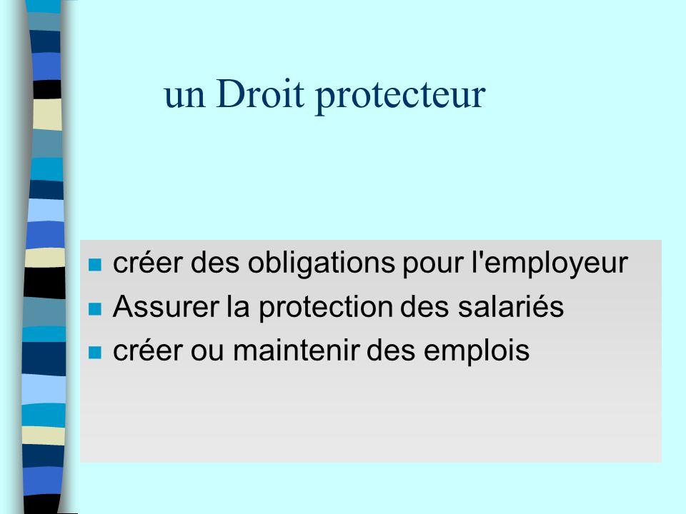un Droit protecteur n créer des obligations pour l'employeur n Assurer la protection des salariés n créer ou maintenir des emplois