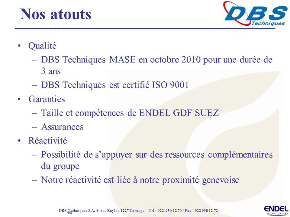 ROLEX DAENERYS DBS 4 07 2008 Qualité –DBS Techniques MASE en octobre 2010 pour une durée de 3 ans –DBS Techniques est certifié ISO 9001 Garanties –Taille et compétences de ENDEL GDF SUEZ –Assurances Réactivité –Possibilité de s'appuyer sur des ressources complémentaires du groupe –Notre réactivité est liée à notre proximité genevoise Nos atouts DBS Techniques S.A.