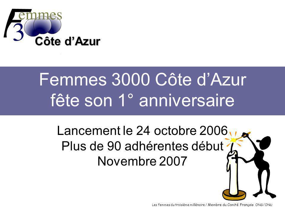 Les femmes du troisième millénaire / Membre du Comité Français ONG/ONU Côte d'Azur Femmes 3000 Côte d'Azur fête son 1° anniversaire Lancement le 24 octobre 2006 Plus de 90 adhérentes début Novembre 2007